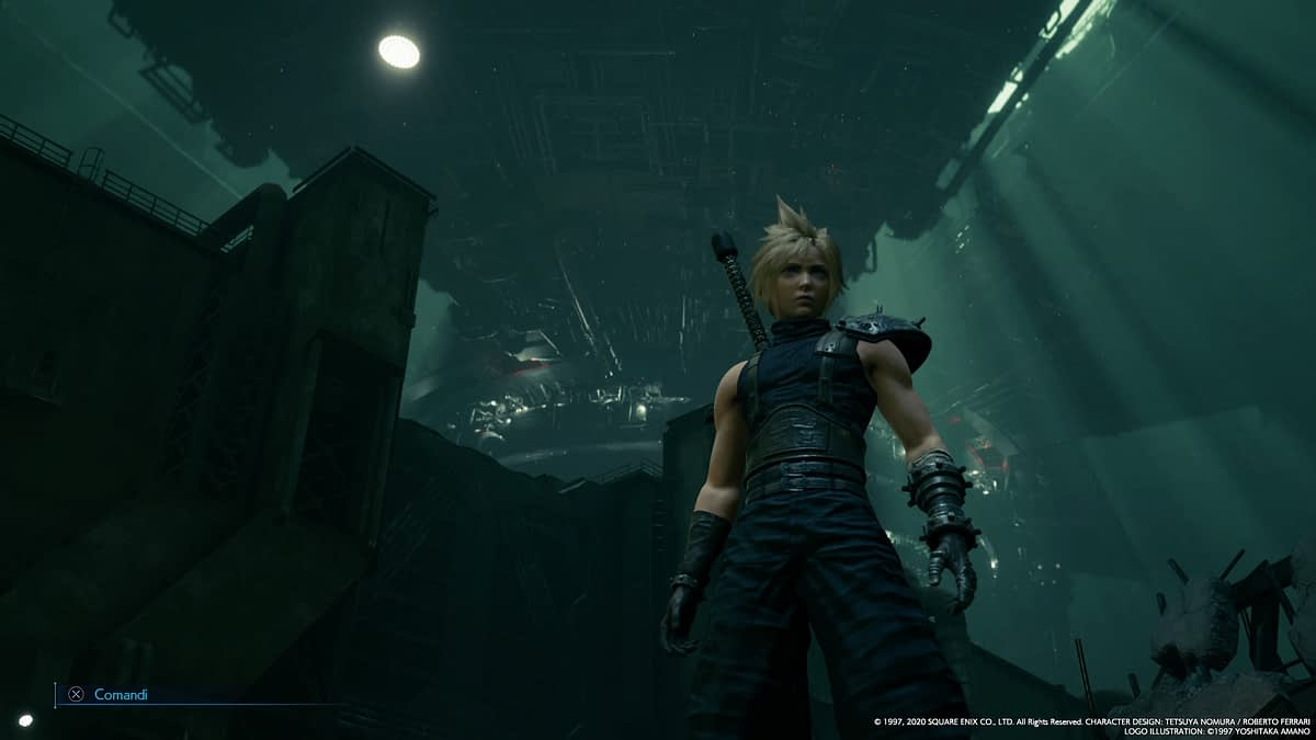 Final Fantasy VII. Cloud in primo piano, sullo sfondo il grattacielo della Shinra a Midgar